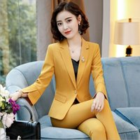 Korean Style Women 2 Piece Set Business Pant Suits Formal Office Work Plus Size Slim Long-sleeve Blazer and Pants Trousers Suit