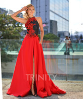 Bright Red Black Satin Halter Applique Evening Dresses Speci...