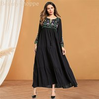 Women Embroidery Long Dress Plus Size Spring Autumn Muslim A...