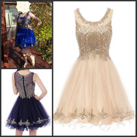 Short Sweet 16 Dresses Gold Lace Applique Knee Length Junior...