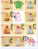 Weihnachtsgeschenk Schmuck Taschen Organza-Satin-Süßigkeit-Beutel Spielzeug Beutel 11 Farben Herz Schmuck Beutel Hochzeit Verpackung Beutel verschiedene Größen