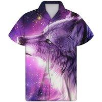 Artı boyutu 4XL 2020 Yeni Yaz Erkek Kısa Kollu Hawaii Gömlek Kurt Guayabera Camisa Hombre Gömlek Casual Erkek Giyim yazdır