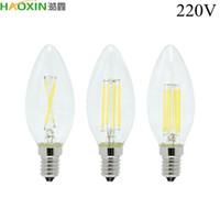HaoXin LED Filament Bulb E14 E27 2W 4W 6W AC220V Glass Shell 360 Degree C35 Edison Retro Candle Light Warm Cold White Free Shipping