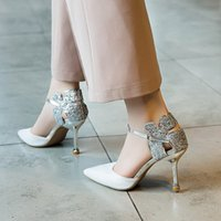 Spring 2019 Baotou Sandals White women' s shoes with thi...