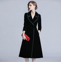2019 lapela pescoço gola Temperamento Temperamento das Mulheres Trench Coats slim fit estilo longo single breasted casaco