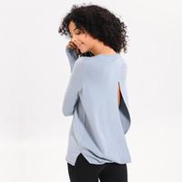 النساء اليوغا تشغيل قمصان كم طويل في الهواء الطلق تدريب اللياقة البدنية اليوغا الرياضة قميص تنفس قميص القمم تدريب رياضية