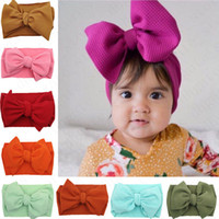 Kids Baby Girls Bow Wide Elastic Headband Turban Solid Color...