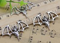 50 pcs liga de morcego encantos pingente retro jóias fazendo diy keychain antigo pingente de prata para brincos pulseira 33x23mm