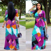2019 Printemps Femmes Maxi Dress Traditionnel Africain Imprimer Robe Longue Dashiki Élastique Élégant Dames Moulante Vintage Imprimé Taille Lace up 2XL
