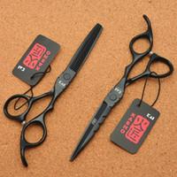 6.0 '' Japón 440C Color negro Tijeras de peluquería Tijeras de corte Tijeras de adelgazamiento Profesional Human Hair H1010