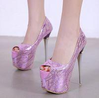 16см Ультра высокий каблук Peep Toe насосы платформы невесты свадебные туфли лаванды розовый черный размер 35 до 40