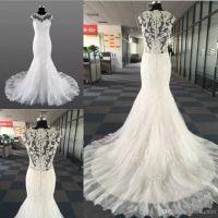 Newest Elegant Mermaid Wedding Dresses Jewel Sleeveless Lace Back Coverde Botton Sweep Train Applique Wedding Gowns