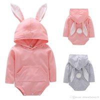 INS Baby Rabbit Hooded Romper Bunny Ear Easter Jumpsuits Lon...