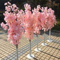 Coloré Artificielle Arbre De Fleur De Cerisier Colonne Romaine Route Leads Centre De Mariage Ouvert Ouvert Fleurs Props Fer Art Portes À Fleurs