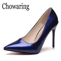 Sexy zapatos de tacones altos de mujer tacón fino bombas femeninas básicas zapatos de boda rojo azul albaricoque zapatos Mujer Tacon Stiletto 8 10 CM
