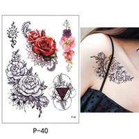 임시 바디 아트 플래시 문신 스티커 17 * 10cm 방수 Tato Henna 미용 메이크업 도구 비키니 장식