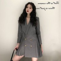 Spring Suit Women Long Blazer Casual Pocket Double Breasted ...