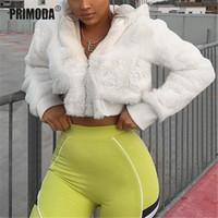 2019 Kış Sıcak Coat Femme Streetwear Tam akın Faux Kürk Kırpılmış Ceketler Kadın Kapşonlu Parti Beyaz Kıyafetler Palto PR321M