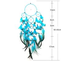 Artigianato di piume Blue Dream Catcher Wind Chimes Handmade Dreamcatcher Net con perline di piume per appendere a parete Car Home Decor