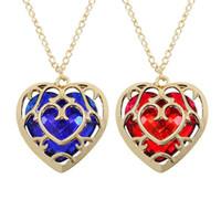 Nieuwe de legende van Zelda hartvormige kristallen ketting holle ruby saffier liefde hanger lange gouden ketting voor vrouwen mannen mode-sieraden
