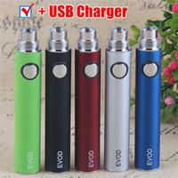 MOQ 5pcs 100% de qualité Evod Batteries de vaporisateur PEN USB Chargeur 510 Batterie de fil 650 900 1100mAh Vape Stylos pour Ego CE4 MT3 ECIG