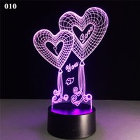 Saint Valentin 3D USB Night Lamp Créativité 3D Stéréo Touch Lights Love Heart Multicolore Décoratif Veilleuse Lampes Table Bureau LED Lampe