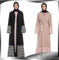 Musulmanes impresos para mujer vestidos con Fajas Casual Cardigan para mujer vestidos de Ins estilo de las mujeres calientes de la ropa de la nueva llegada