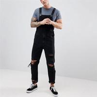 Erkek Kot Erkek Marka Delik Cebi Genel Tulum Erkekler Için Ripped Streetwear Askı Pantolon Ince Denim Giysileri E21