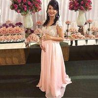 Enceinte femmes élégantes robes de bal rose longue dentelle Appliqued col en V de bal Robes en mousseline de soie ligne Gestité robe de soirée formelle