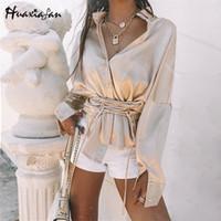 Женские блузки Рубашки HUAXIAFAN Блуза рубашка женская пэчворка Bandage высокая талия с длинными рукавами женские винтажные топы 2021 сплошной цвет Blusas