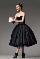 2020 그래서 아름다운 블랙 레이스 티 길이 댄스 파티 드레스와 창틀 연인 네클라인 볼 가운 파티 드레스 패션 이브닝 드레스