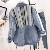 Lentejuelas Borla Cordón Mujeres Denim Chaqueta 2019 Primavera Otoño Fresco GIrl Moda Outwear Zipper Placket Cool Coat