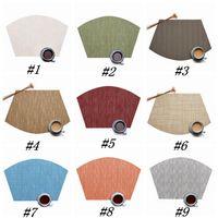 9 cores em forma de leque Louça Pad PVC estilo ocidental Food Mat Non Slip isolamento térmico Placemat 45 * 30 centímetros Tabela Mat ZZA1211