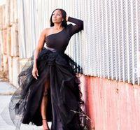Асо Ebi Arabic Sexy одно плечо Вечерние платья тюль шифона платье сексуальный перерезал нигерийский Формальная партии платья на заказ