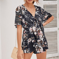 MUQGEW Rompers mono para mujer pantalones cortos para mujer Floral Printting Cocktail Party Pencil Midi Rompers Mono combinaison femme