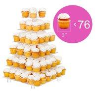 큰 6-계층 아크릴 유리 웨딩 파티 스퀘어 먹고 스탠드-케이크 독 컵 케이크 타워-디저트 디스플레이 스탠드(6SFS)
