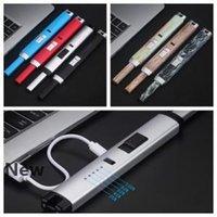 USB electrónica de cozinha Lighter 10 cores elétrica recarregável à prova de vento de metal longo Arc Lighter Cigarette Isqueiros OOA6312