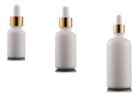 Damlalık 10ML 15ML 20ML 30ML 50ML 100ML ile Yüksek Kaliteli Yuvarlak Beyaz Porselen Kozmetik Ambalaj Lüks Serum Cam Şişe