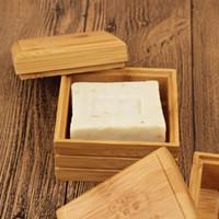 Platos de jabón de bambú simple Natural Soap Box del sostenedor del estante de drenaje de la bandeja de bambú de la ducha del baño Accesorios HHA1166