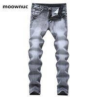2020 весны Ностальгии стиля джинсы мужской случайная эластичная Тонкий Fit брюки мужчины джинсы Классический серый Denim мужского размера 28-38