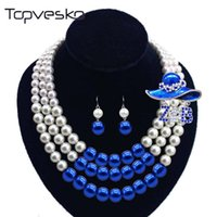 Women Three Strands Zeta Bule beaded Pearl Necklace Earring Jewelry Set