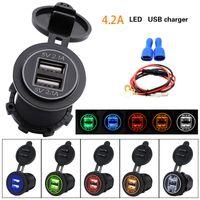 Çift USB Dayanıklı Navigasyon Cep Telefonu Güç Çıkışı Şarj Aksesuarları Araba Motosiklet Soket Adaptörü Voltaj Su geçirmez Oto