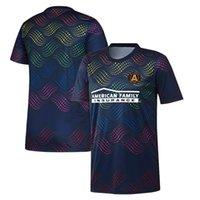 2020 MLS Atlanta United FC Donanma Pride Öncesi Maç Jersey futbol formaları futbol forması Gurur Öncesi Maç futbol formaları Aktif Erkek Tişörtler