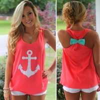 Maglietta da donna di moda Anchor Casual Fancy Sleeveless Tee Bowknot Summer Simple Vest Tank Sexy T-Shirt Party