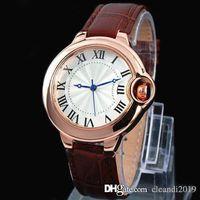 2019 Fashion Top Mann Luxusuhr echtes Leder Armbanduhr-Frauen-Kleid-Uhr-Quarz-Taktgeber Stahl Liebhaber Brown Uhr Relojes De Marca Mujer