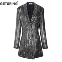 GETSRING Frauen Blazer Temperament Pailletten Damen Blazer Jacke Langarm Single Button Spring Jacket Frauen Lange Klage