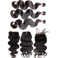 Bella Hair® 4 adet / grup Kapatma Ile Hint Bakire Saç Demetleri 4 * 4 Vücut Dalga İnsan Saç Uzantıları Tam Kafa Doğal Renk