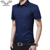 DA JAUNA 2019 мужчин с коротким рукавом рубашки Slim Fit Летняя мода Siold Цвет платья костюмы Мужской мальчиков бизнес Большой размер 8XL N5095