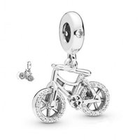 New Authentic 925 Sterling Silver Charm Brilliant Bicycle Wi...