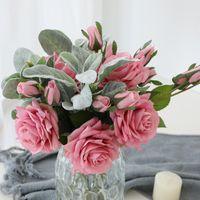 HVAYI bellezza vero tocco fiori in lattice rose fiori artificiali ramo di falso bouquet da sposa mariage decorare per la decorazione domestica di nozze